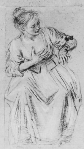 Сидящая женщина с рукой на груди, смотрящая вправо