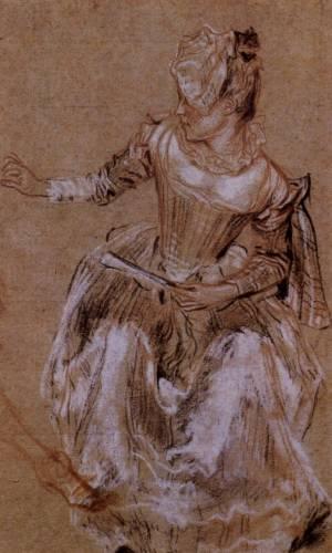 Сидящая женщина, смотрящая и указывающая влево